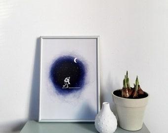 Nightwalk A4 print illustration - mini poster