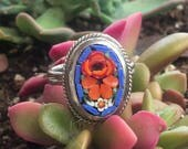 Blue Micro Mosaic Filigree Ring Vintage 1950 1960 Woodland Wedding Bridal Goddess