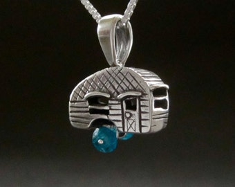 Camper pendant, Vintage Camper necklace, Canned Ham trailer, recycled Sterling Silver made in USA