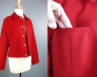 Red Wool Jacket / Vtg 90s / Express Red Wool Jacket  / Red Eisenhower Jacket / Cropped Bomber
