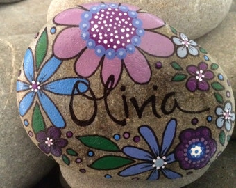 Happy Rock - Olivia - Hand-Painted River Rock Stone - purple blue daisies pansies flowers