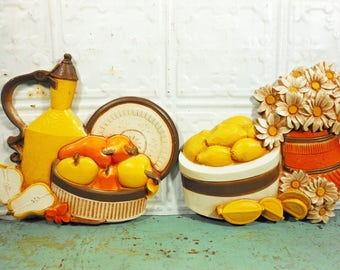 Vintage Syroco Homco Kitchen Wall Plaques Baskets of Lemons and Pears Orange and Yellow Daisies
