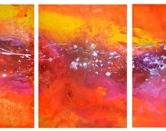 XL ART HUGE Original Sunset Triptych Art by Caroline Ashwood - Textured and contemporary abstract painting on canvas - Free Shipping