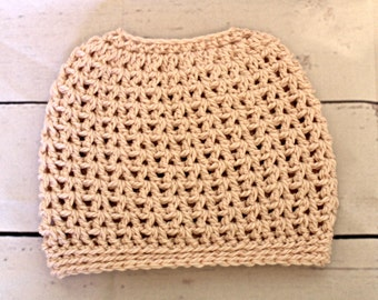 Messy Bun hat - ponytail hat - womens messy bun beanie in pink alpaca luxury yarn