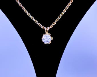 Solitaire, Diamond, Pendant, Round Brilliant, 14k, Gold, Yellow Gold, 18 in, Rope Chain