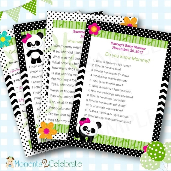 Panda Bear Baby Shower Games, Panda Baby Shower Game, Panda Baby Shower, Girl Baby Shower Games, Custom Shower Game, Girl Baby Shower - #129