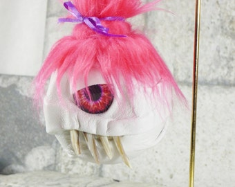Valentine Day Decor Gift Funny Creepy Decoration Hand Made Love Goblin Monster Pink White One Of A Kind Handcrafted Leather