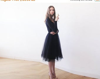 Spring Sale Black midi length tulle gown with long sleeves , Black bridesmaids tulle gown 1068