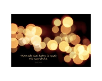 Lights & Magic Photo, Twinkle, Sparkle, Mystery, Night, Inspirational Quote, Roald Dahl, Bokeh, Gold