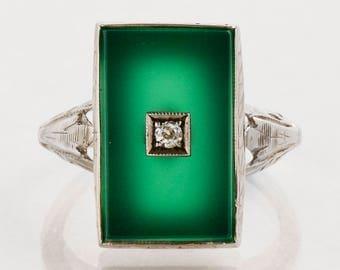 Antique Ring - Antique 14k White Gold Chrysophase Diamond Ring