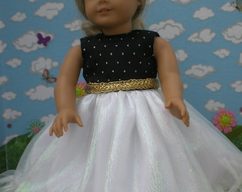 Black, White and Gold dress for 18 inch doll like American Girl