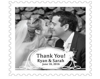 Black and White Destination Stamp Shape Thank You Wedding Magnet, Cheap and Inexpensive Unique Wedding Favor