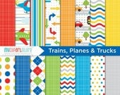 SALE - Digital Paper - Trains, Planes, Cars and Trucks - Instant Download