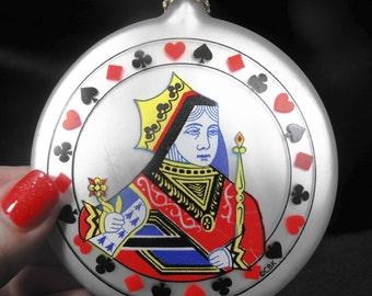 Vintage Christmas Ornament - Queen Ornament, Playing Card Ornament, Queen Playing Card Ornament, Retro Playing Card Ornament