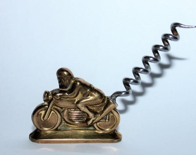 Vintage Mid-Century 1954 Brass Motorcycle Racer Corkscrew