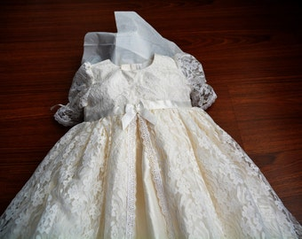 Madison Lace and Silk Christening gown set Baptism Gown Handcrafted Heirloom gown set