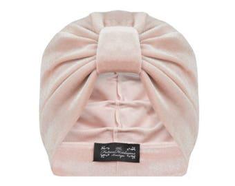 Ava Velvet Turban in Blush Pink