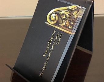 Round Hammered Vertical Business Card Holder Bronze Patina