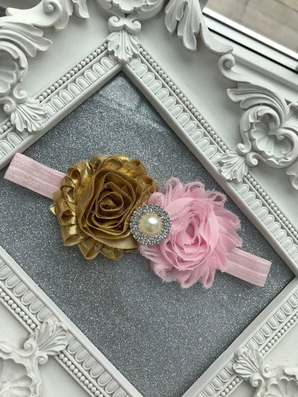Girls Hair Accessories Pink And Gold Shabby Flower Headband Wedding
