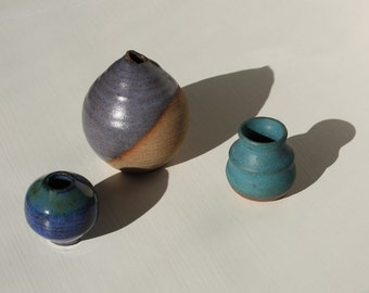 3 Hand Made Pottery, Miniature & Wonderful, 3 Pots, c.1975, Excellent Condition, One Signed Roselle