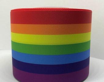 "3"" Rainbow Gay Pride Grosgrain Ribbon"