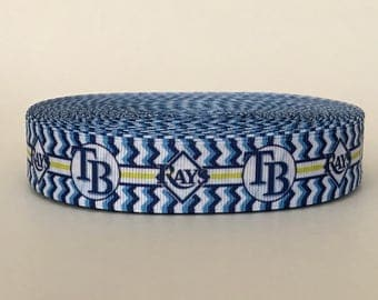 "7/8"" Tampa Bay Rays Baseball Grosgrain Ribbon"