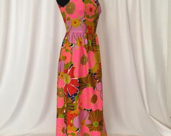1960's Maxi Dress with Neon Pink, Coral and Olive Green Flowers, 'Evelyn Pearson' Hawaiian Party Dress, Beach