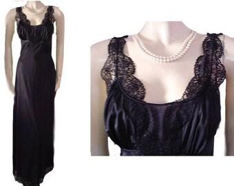 Vintage Munsingwear Nightgown Black Lace Bias Glamour Girl Nightgown vintage nightgown black nightgown bias nightgown lace nightgown bias