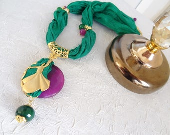 Gold Whirling Dervish Necklace,Semazen Necklace,Turkish Green Silk Necklace,Frame Necklace,Sufi,Elegant,Feminine Necklace,Mother's Day Gifts