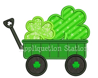 Wagon full of Clover Applique Machine Embroidery Design St Patrick green irish shamrock INSTANT DOWNLOAD
