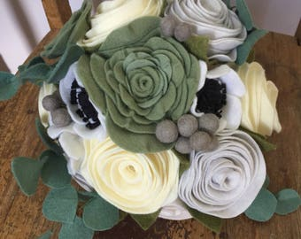 READY TO SHIP   Felt Flower Bridal Bouquet