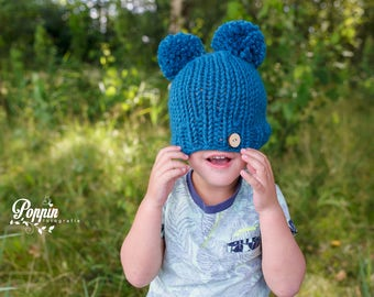 Double Pompom Mouse Chunky Pom Bear Hat Beanie Newborn Baby  Kids Babyshower Gift Newborn Prop Photography with Wooden Button Petrol