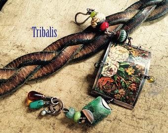 Rustic Artisan Bohemian 'Rose Garden' Bracelet  tribal rustic floral tin . folk artisan . beads festive . multicolor . up cycled tin  garden
