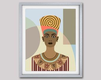 Queen Nefertiti Pop Art Poster, Egyptian Art, Ancient Egypt Queen, Celebrity Portrait Art Decor, Black Queen Print, Nefertiti Portrait