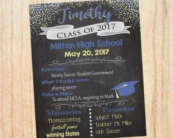 Graduation Party Welcome sign. PRINTABLE High School Graduation Party Decoration. DIY customizable grad chalk board. college
