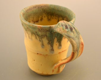 Toasty mellow yellow handmade ceramic mugs with green drips