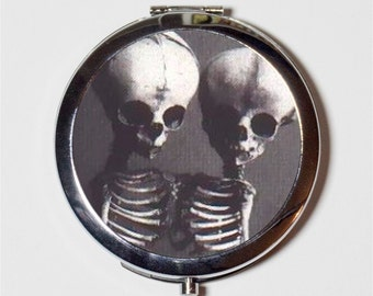 Siamese Skeletons Compact Mirror - Conjoined Twins Medical Oddity Anatomical Victorian - Make Up Pocket Mirror for Cosmetics