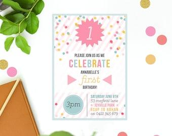 Birthday Invitation Kids Multi Coloured Girls Birthday Invite Modern Fun Simple Clean Confetti Pastel Stripes Invitations
