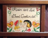 Kitchen Verse Pennsylvania Dutch Boy Girl Good Cooking Motto Vintage Kitschy Wall Decor Red Yellow Green Wooden Frame Valentines Day Gift
