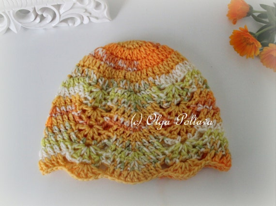 Calendula Baby Hat Crochet Pattern, Size 0-3 Months, Quick and Easy Crochet Pattern