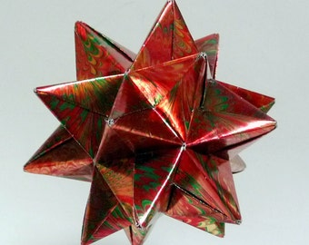 Red and Green Origami Star, Christmas Ornament, Star Ornament, Red Christmas Star, Origami Ornament