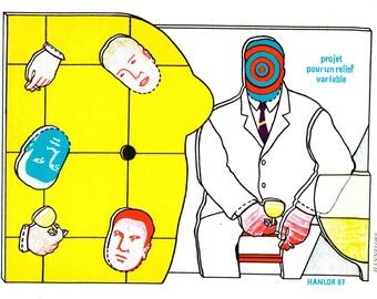 Pierre Hanlor-Projet pour un relief variable-1967 Lithograph