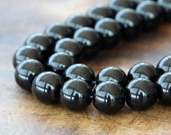 Jet Black Czech Glass Beads, 10mm Round Druk - 25 pcs - e2398-10r