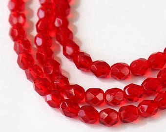 Siam Red Czech Glass Beads, 6mm Faceted Round - 50 pcs - e9008-6