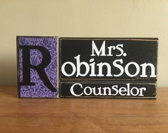 Personalized counselor gift, principal gift, desk decor, Personalized name block, wood, secreatary gift, teacher gift, personalized sign