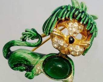 FREE Shipping Vintage Green Enamel Lion Brooch Pin Rhinestone Jelly Belly Criter Poodle Animal Strange Weird Creature Creepy 60s Retro