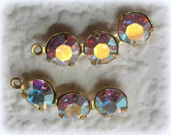 22MM Swarovski Crystal AB Clear 3 TIERED Curved Brass Multi Setting 1 Ring