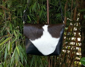 "KUHIE®, cow fur bag ""Minnie"" from black and white cowhide and leather"