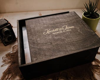 Reserved - 12.5x12.5x1.5 Wood Album Box  - Dark Walnut - Laser Engraved with Silver Inlay - (NO area for USB)