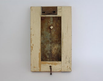 Framed Ceiling Tin Magnet Board / Key Holder  Handmade using Reclaimed Wood